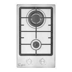 """Stainless Steel 2 Italy Sabaf Burners Stove Top Gas Cooktop, 12"""""""