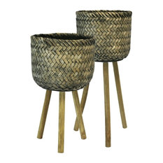 Sagebrook Home Bamboo Planters On Stands,  Brown, Set of 2