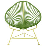 Innit Designs - Acapulco Chair New Frame Colors, Cactus Weave, Yellow Frame - With a more laid back pear-shaped profile than our Innit Chair, the Acapulco Chair is comfortable without a cushion and made to last stylishly for years with its durable plated steel frame and custom leather woven cord.Available in light (blonde) or dark (brunette) leather cord and 5 frame finishes; the Acapulco Chair is breathable, stackable, easy to clean and perfect for both residential and commercial applications. Note: Chrome and copper frame finishes as well as leather cord are suitable for indoor use only, while our stainless version is perfect for your yacht or seaside home.