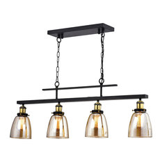 4-Light Antique Black Downlight Linear Kitchen Chandelier With Amber Glass