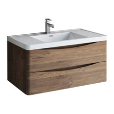 "Fresca Tuscany 40"" Rosewood Wall Hung Cabinet With Integrated Sink"