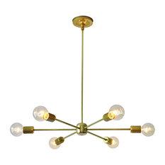 Modern Brass Chandelier, Mid-Century Sputnik Chandelier Lighting Fixture
