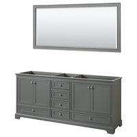 """Deborah 80"""" Double Vanity, No Countertop, No Sinks, and 70"""" Mirror"""