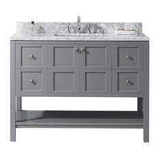"Winterfell 48"" Single Bathroom Vanity Set, Gray With No Mirror"