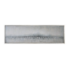 "71"" Extra Long Silver Landscape Painting, Coastal Wall Art"