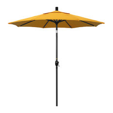 7.5' Matted Black Push-Button Tilt Crank Aluminum Umbrella, Yellow Pacifica