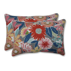 Outdoor Catching Rays Poppy Over-sized Rectangular Throw Pillow (Set of 2)