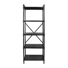 Lina Industrial Iron Five Shelf Bookcase