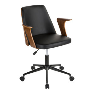 LumiSource Verdana Office Chair, Walnut Wood and Black PU Leather