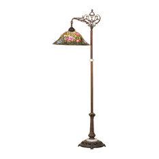 """59"""" Tiffany Rosebush Bridge Arm Floor Lamp"""