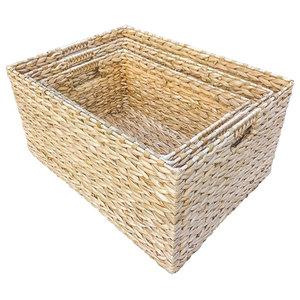 Rectangular Water Hyacinth Storage Baskets, Set of 3