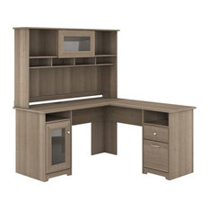 Cabot 60W L Shaped Computer Desk with Hutch in Ash Gray - Engineered Wood