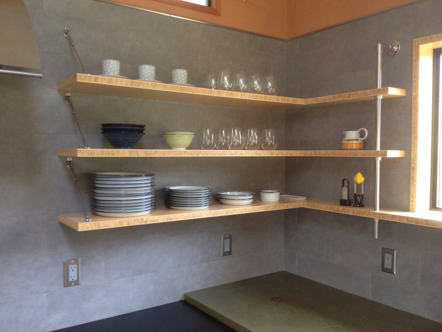Open bamboo shelving