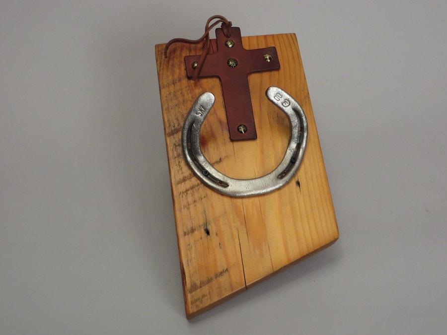 #R15027 Coat Rack Reclaimed Pine, horseshoes, leather.