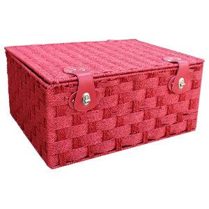 Red Paper Rope Hamper Basket, Medium