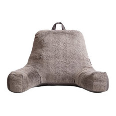 Faux Fur Reading Lounge Pillow, Grey Mink
