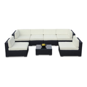 Outdoor Sofa All Weather Wicker Sectional 7-Piece Resin Couch Set