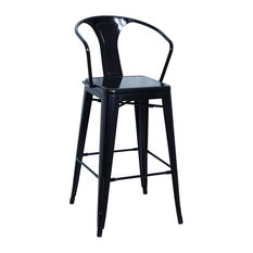 Chintaly Galvanized Steel Bar Stools With Back, Black, Set of 4