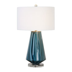 Uttermost   Teal Blue Gray Swirl Glass Table Lamp, Ivory Drum Shade   Table  Lamps