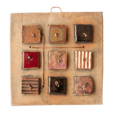 """Maria Handmade Clay And Copper Decorative Tile, 4"""""""