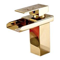 Single Lever Waterfall Gold Bathroom Sink Basin Faucet