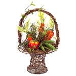 Melrose International - Vegetable Basket - Garden vegetable arrangement in a weave basket.