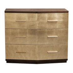Stunning Brushed Gold Leaf Accent Chest, Metallic Midcentury Modern Glam