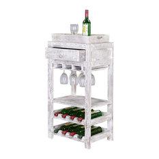 Broadway Mango Wood 1 Drawer Glass Stem Accent Wine Bar Console Rack