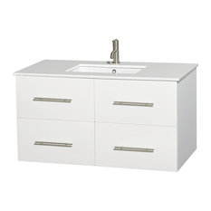 "Centra 42"" White Single Vanity, White Man-Made Stone Top, Undermount Square Sink"