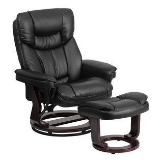 Flash Furniture   Leather Recliner And Ottoman, Mahogany Wood Base, Black  Leather   Recliner