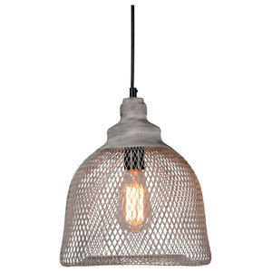 """Vancouver Distressed Iron Mesh Pendant Small, Rustic Gray, 11"""" by Kosas Home"""