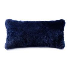 "Shortwool Shearling Sheepskin Cushion, 11""x22"", Dark Navy"