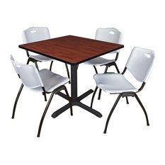 Cain 42-inch Square Breakroom Table Cherry And 4 'M' Stack Chairs Gray