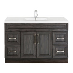 Classic 2-Door 4-Drawer Vanity With Top, Single Sink, Karoo Ash