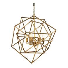 Eichholtz Matrix Cubist Chandelier, Vintage Brass