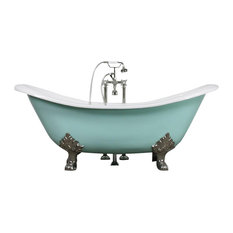 """The Dunstable 73"""" Long Double Slipper Cast Iron Tub With Drain"""