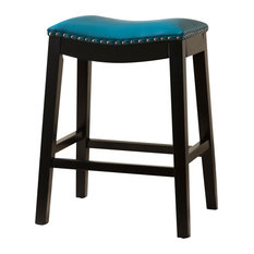 Gayle Bonded Leather Saddle Counter Stool, Teal