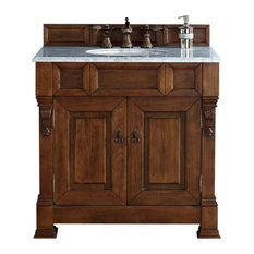 "Brookfield 36"" Country Oak Single Vanity w/ 2cm Carrara White Marble Top"