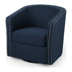 Jaymee Fabric Swivel Chair, Blue and Black