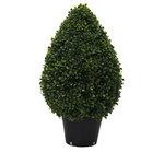 "Vickerman - 24"" Boxwood Teardrop Shaped in Pot, UV - Vickerman 24""Hx15""D Boxwood Teardrop Shaped Bush in a Black Planters Pot, UV Resistant"