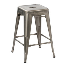"""Btexpert - 24"""" Vintage-Style Antique-Style Distressed Metal Brush Bar Stools, Set of 4 - Bar Stools and Counter Stools"""