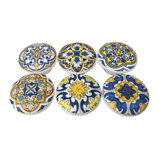 6-Piece Blue and Yellow Medallion Wood Cabinet Knobs Set