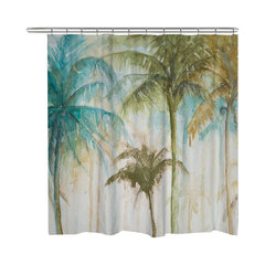 Laural Home Watercolor Palms Shower Curtain Tropical Curtains