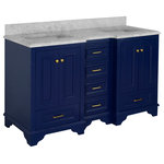 """Kitchen Bath Collection - Nantucket 60"""" Bath Vanity, Base: Royal Blue, Top: Carrara Marble, Double Vanity - The Nantucket: timeless and classic."""