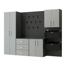 6-Piece Deluxe Cabinet Set Professional Organization System, Black/Silver