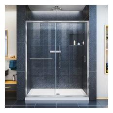 """Infinity-Z 50-54""""x72"""" Semi-Frameless Sliding Shower Door, Clear Glass, Chrome"""