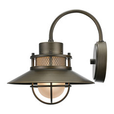 Liam 1-Light Bronze Outdoor Wall Mount Sconce with Frosted Glass Shade