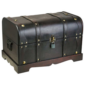 Traditional Storage Chest, Black Finished Wood With Security Straps and Lock