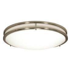 """Glamour 24"""" 39W 3 LED Flush Mount Brushed Nickel White Acrylic Glass"""