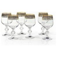 Bohemia Crystal Claudia Gold RIm Wine Glasses, Set of 6, Red Wine